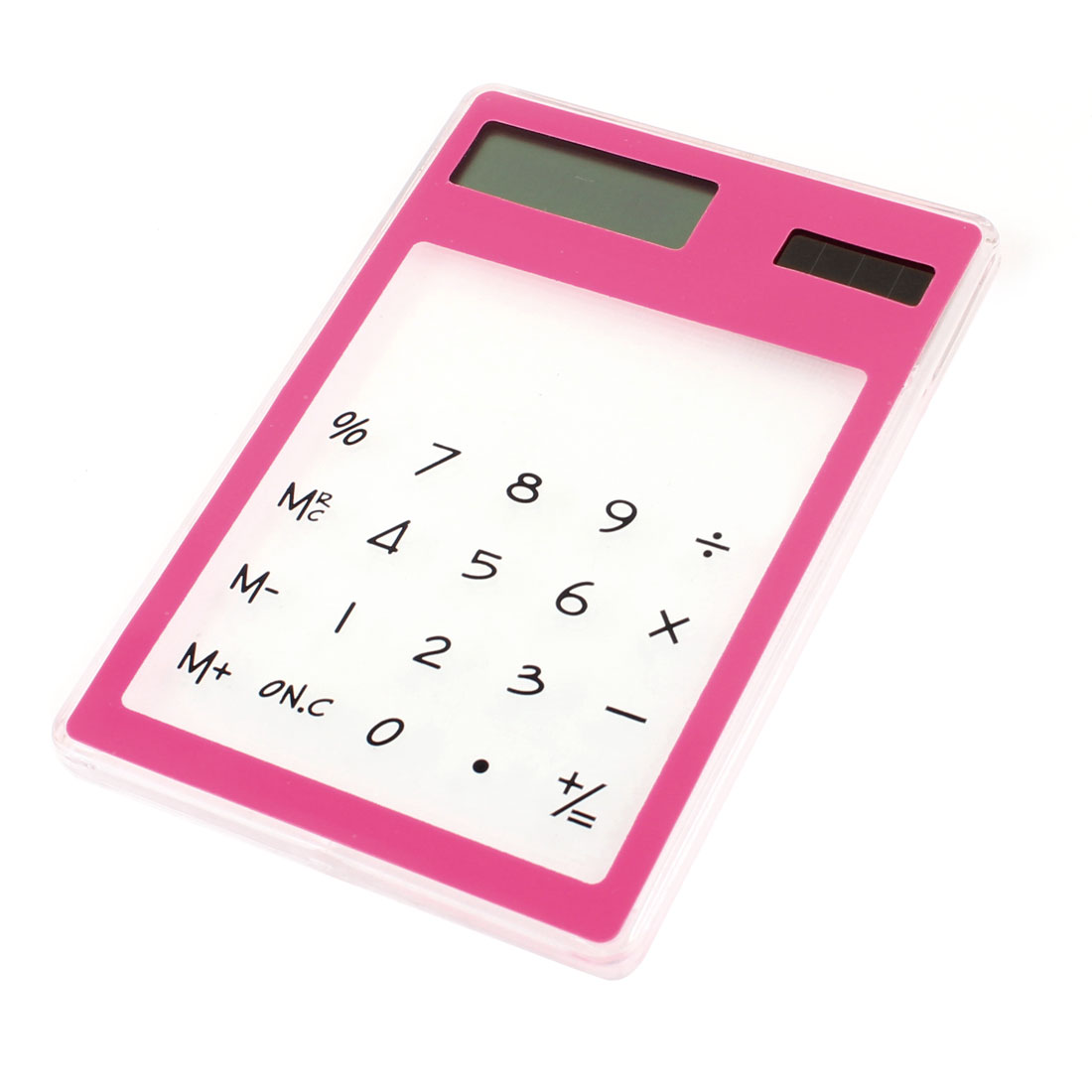 Household 8 Digitals Fuchsia Clear Flat Touch Sensor Solar Power Calculator