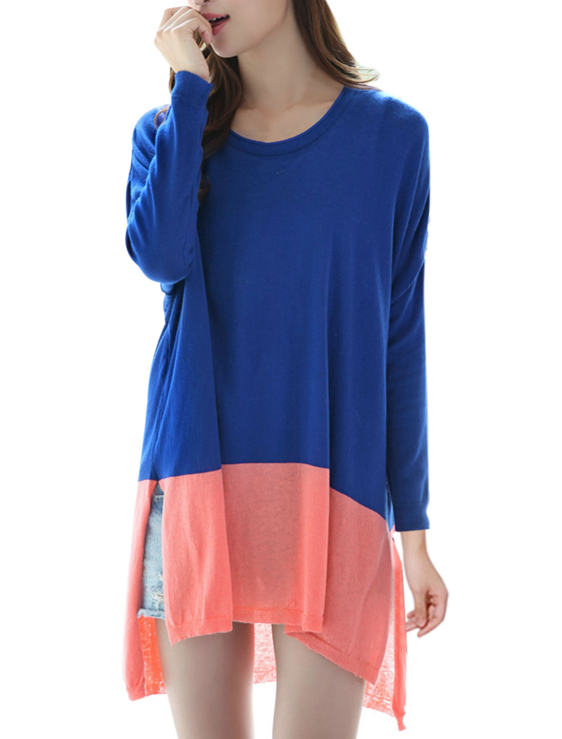 Women Round Neck Pullover Color Block Knitwear Royal Blue Pink M