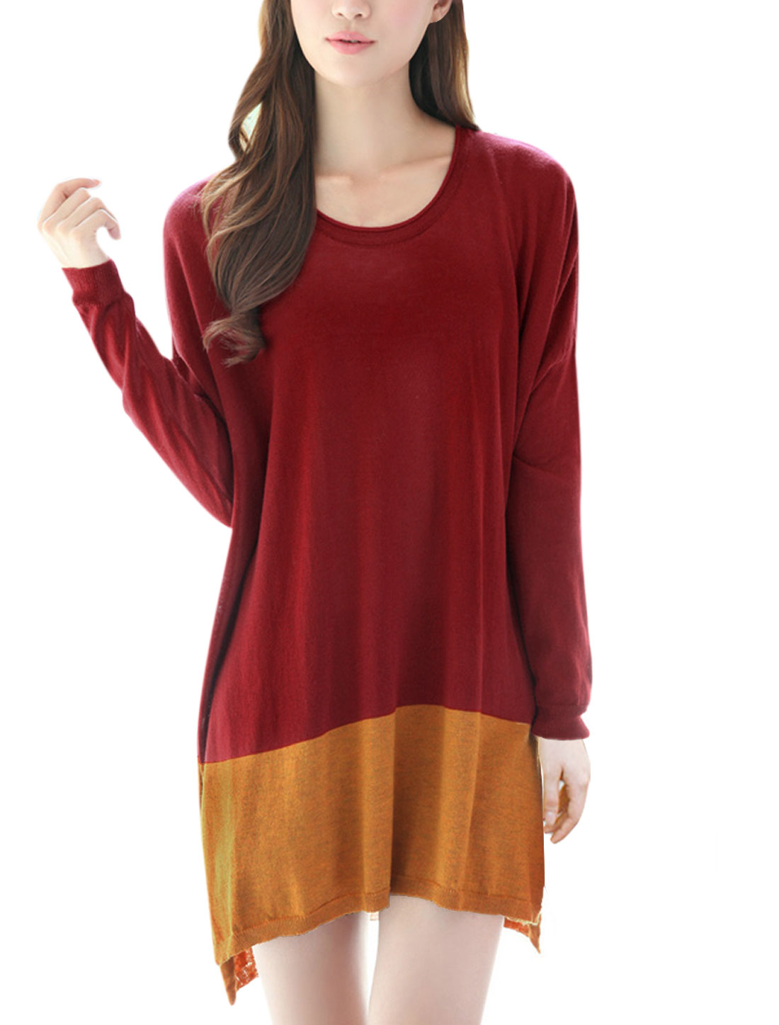 Women Split Sides Batwing Sleeves Color Block Tunic Knit Shirt Red M
