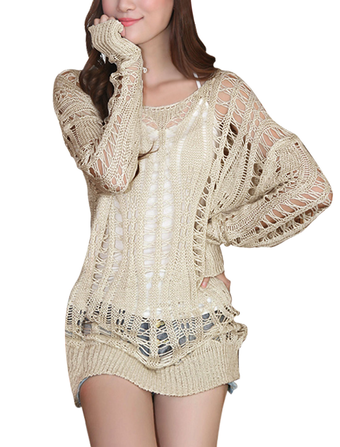 Ladies Pullover Stretchy Long Sleeve Beige Knitted Top M