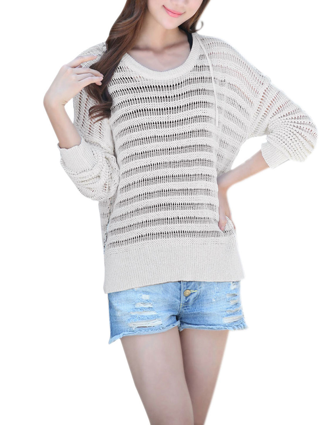 Women Hooded Pullover Hollow Out Knitwear Beige M