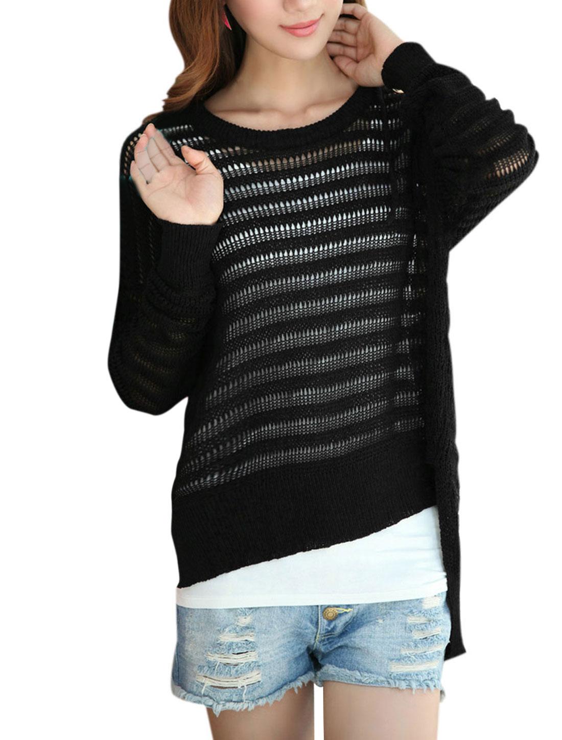 Women Pullover Long Sleeve Low High Hem Knitwear Black M