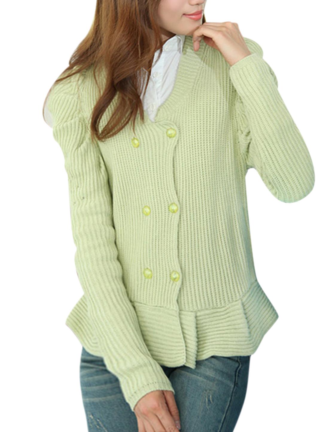 Women Double Breasted Long Sleeve Sweatercoat Light Green XS