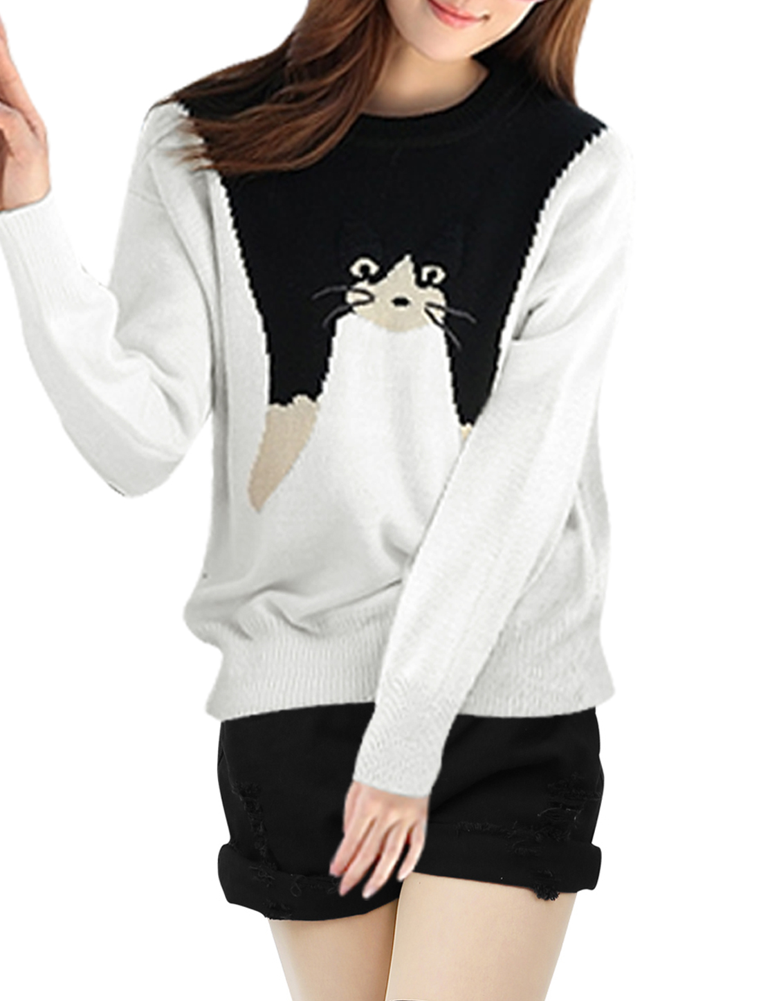 Women Round Neck Pullover Cat Pattern Spring Sweater White S