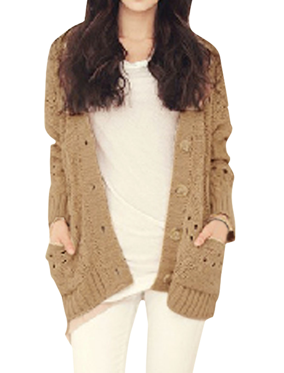 Ladies Khaki L Button Front V Neck Style Solid Color Stretchy Top Cardigan