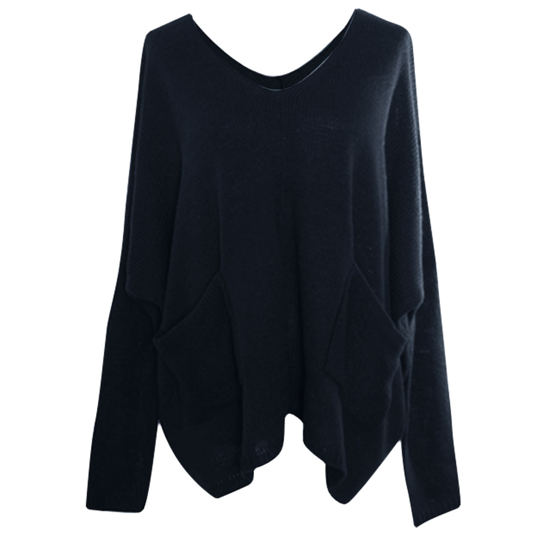 Women V Neck Button Up Pockets Below Sweater Navy Blue L
