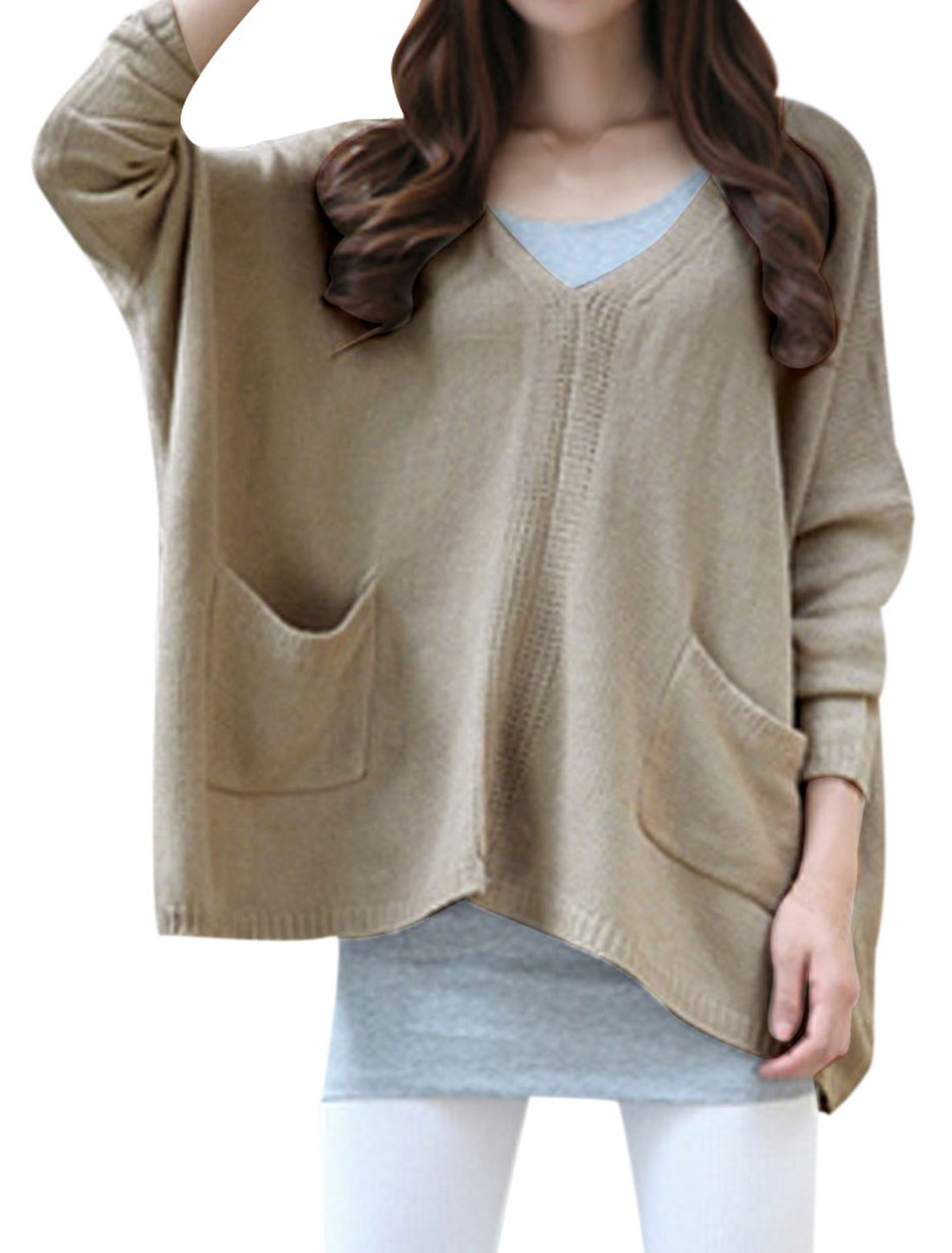 Women Single Breasted Long Sleeve Loose Sweater Beige L