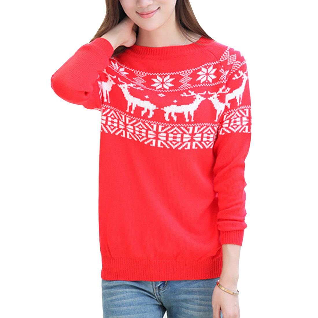 Women Red L Raglan Sleeve Animals Pattern Round Neck Pullover Sweater