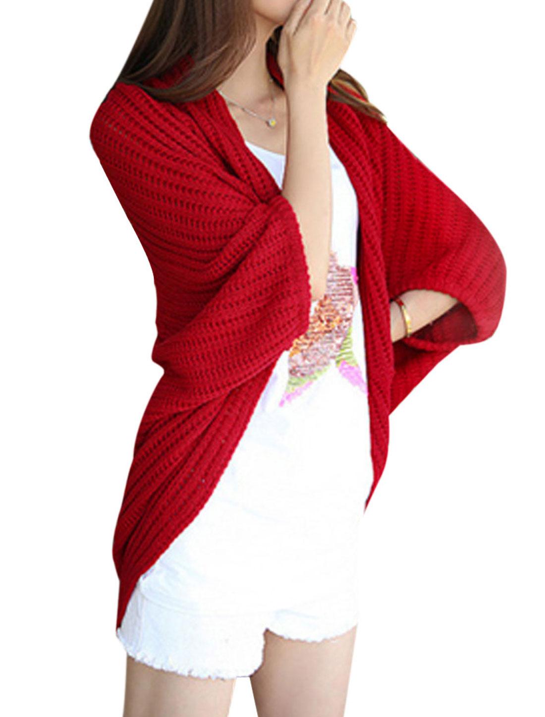 Women Open Front Warm Autumn Wearing Sweatercoat Red M