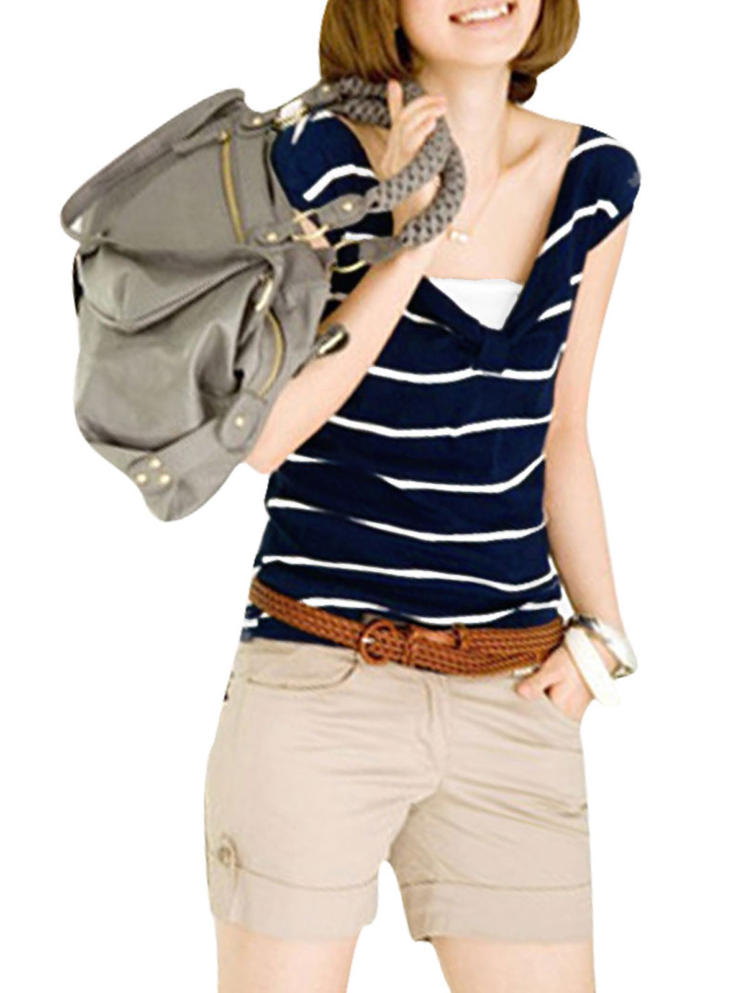 Women Navy Blue V Neck Stripes Pattern Sleeveless Design Pullover Blouse XS