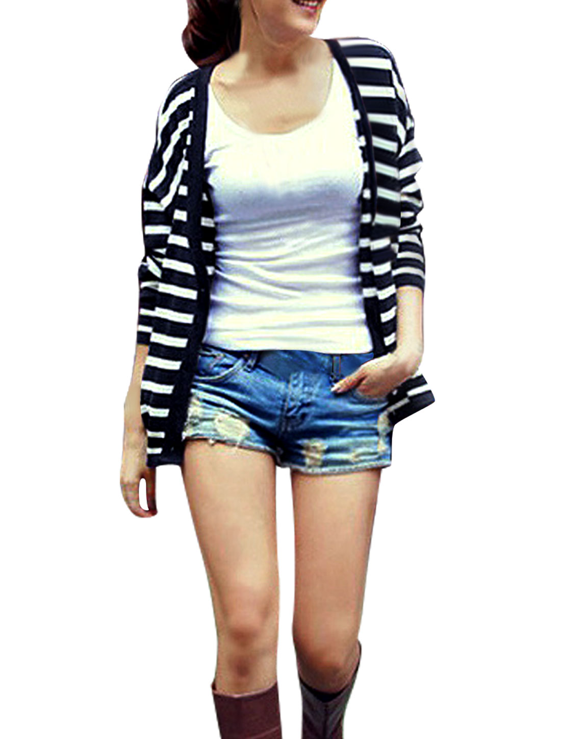 Women White Black XL Deep V Neck Stripes Pattern Long Sleeve Cardigan