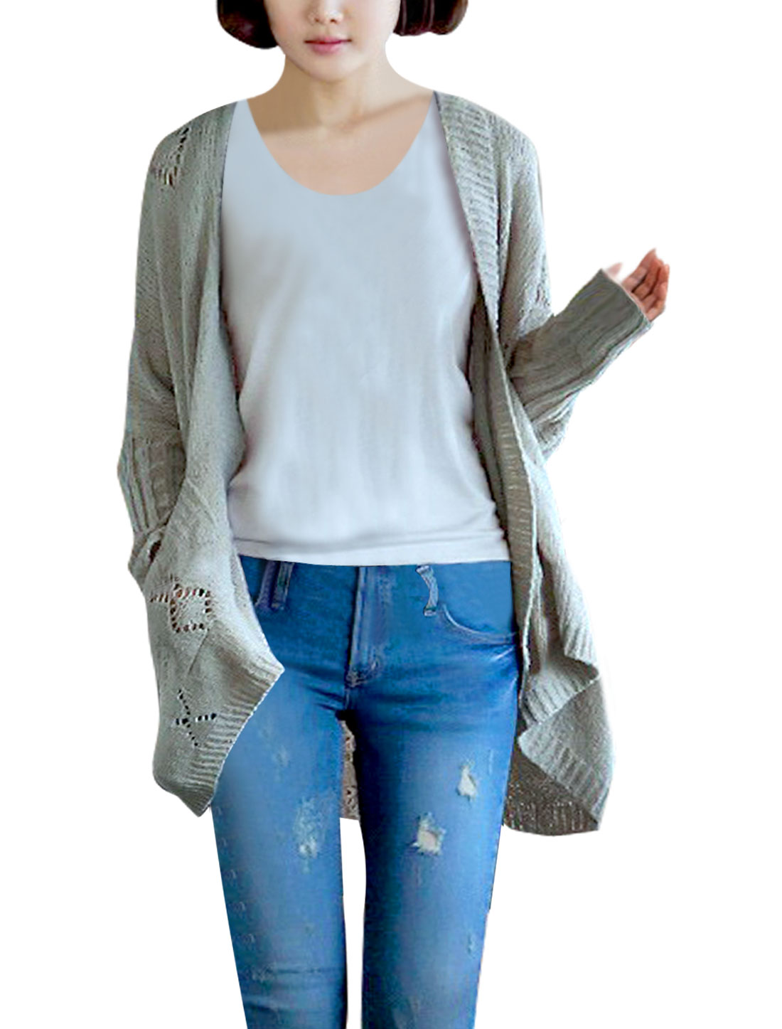 Ladies Open Front Solid Color Hollow Out Warm Spring Cardigan Grey L
