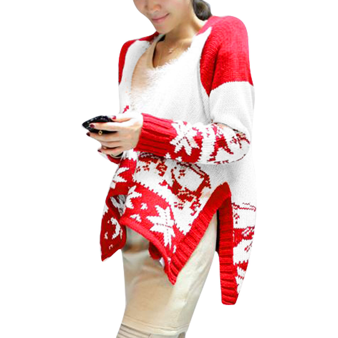Women Red White XS Two Tone Color Block Front Opening Stylish Cardigan