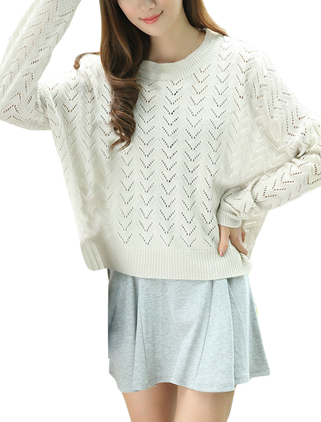 Women XL Beige Hollow Out Design Round Neck Solid Color Pullover Sweater