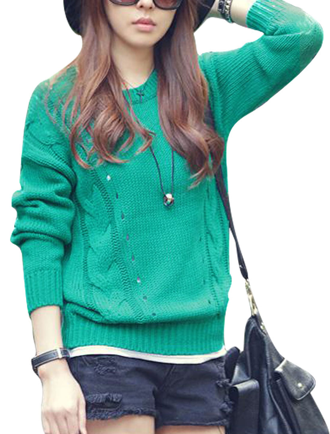Women Green L Long Sleeve Round Neck Hollow Out Design Pullover Sweater