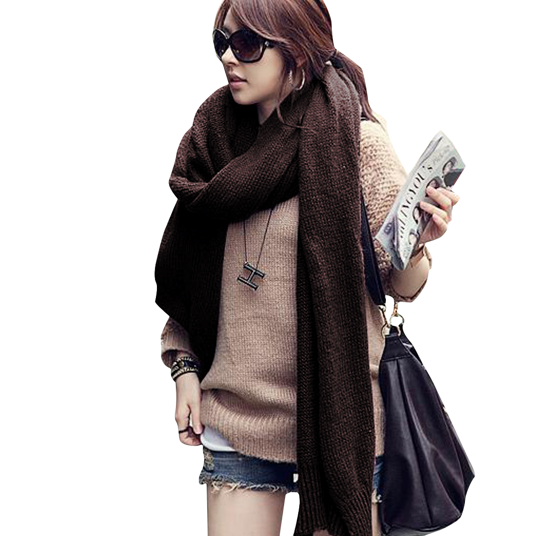 Women Knitting Soft Winter Wearing Scarf Dark Brown