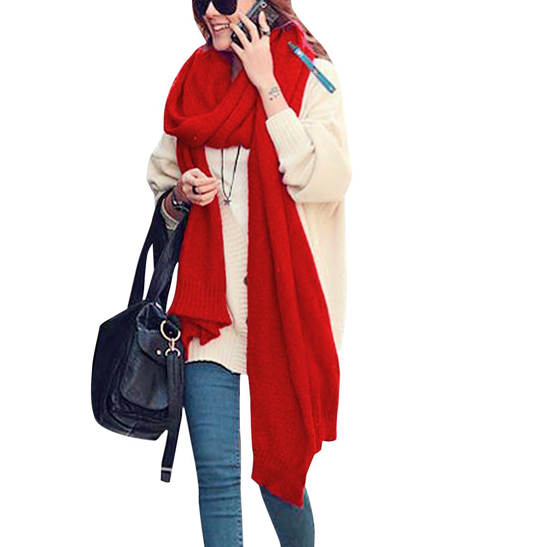Fashion Women Elastic Warm Autumn Wearing Scarf Red