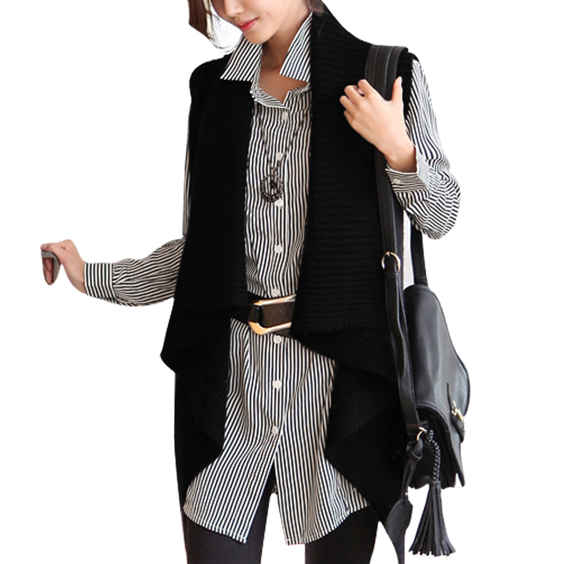 XL Ladies Black Button Down Solid Color Round Hem Style Cardigan Sweater