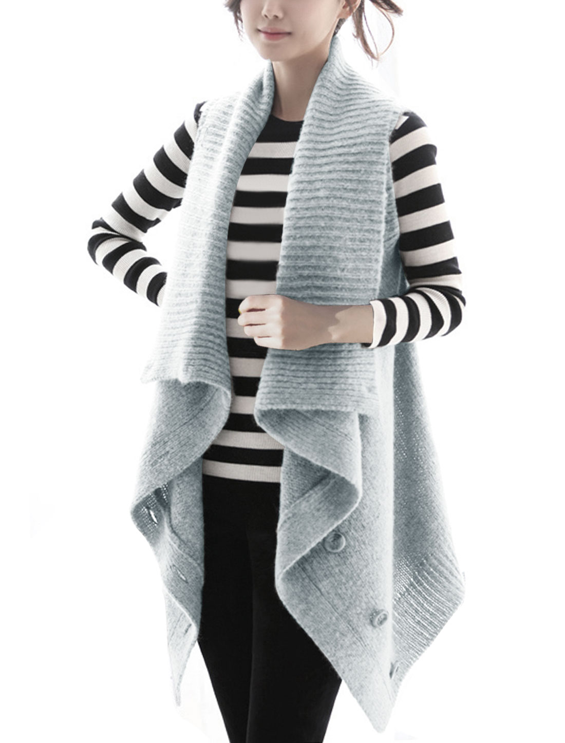 Women XL Light Grey Sleeveless Front Button Closure Round Hem Sweater Cardigan