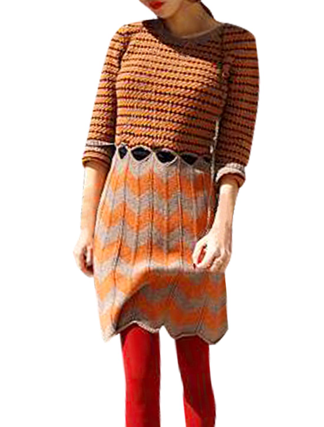 Women M Orange Long Sleeve Round Neck Design Color Block Pullover Dress