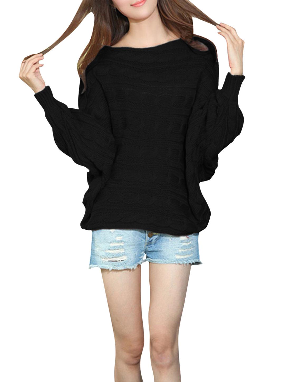 Women Boat Neck Batwing Sleeve Loose Sweater Black M