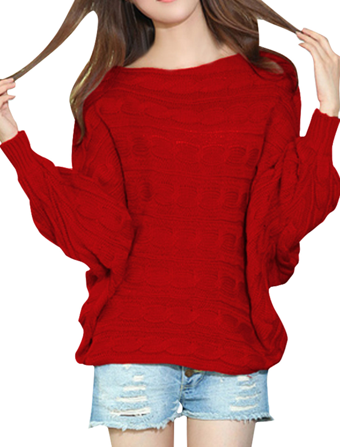 Women Pullover Batwing Sleeve Soft Sweater Red M