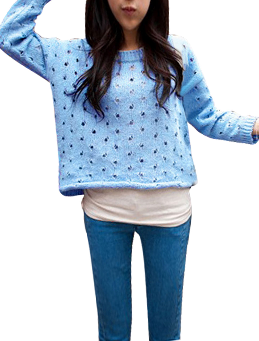 Ladies Round Neck Long Sleeve Hollow Out Design Sky Blue Casual Sweater