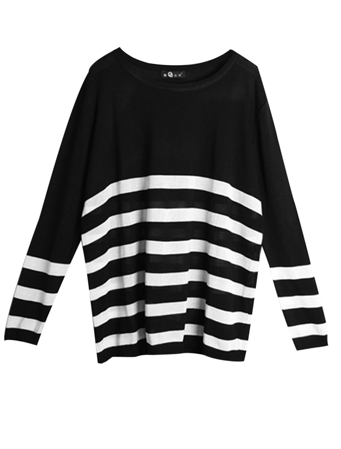 Women Round Neck Long Sleeve Stripes Loose Knitwear Black White M