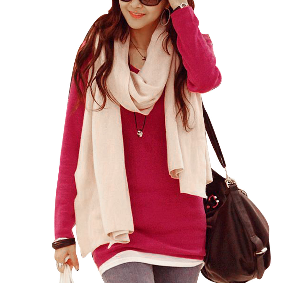 Women XS Fuchsia Long Sleeve Solid Color V Neck Design Slim Fit Tunic Shirt