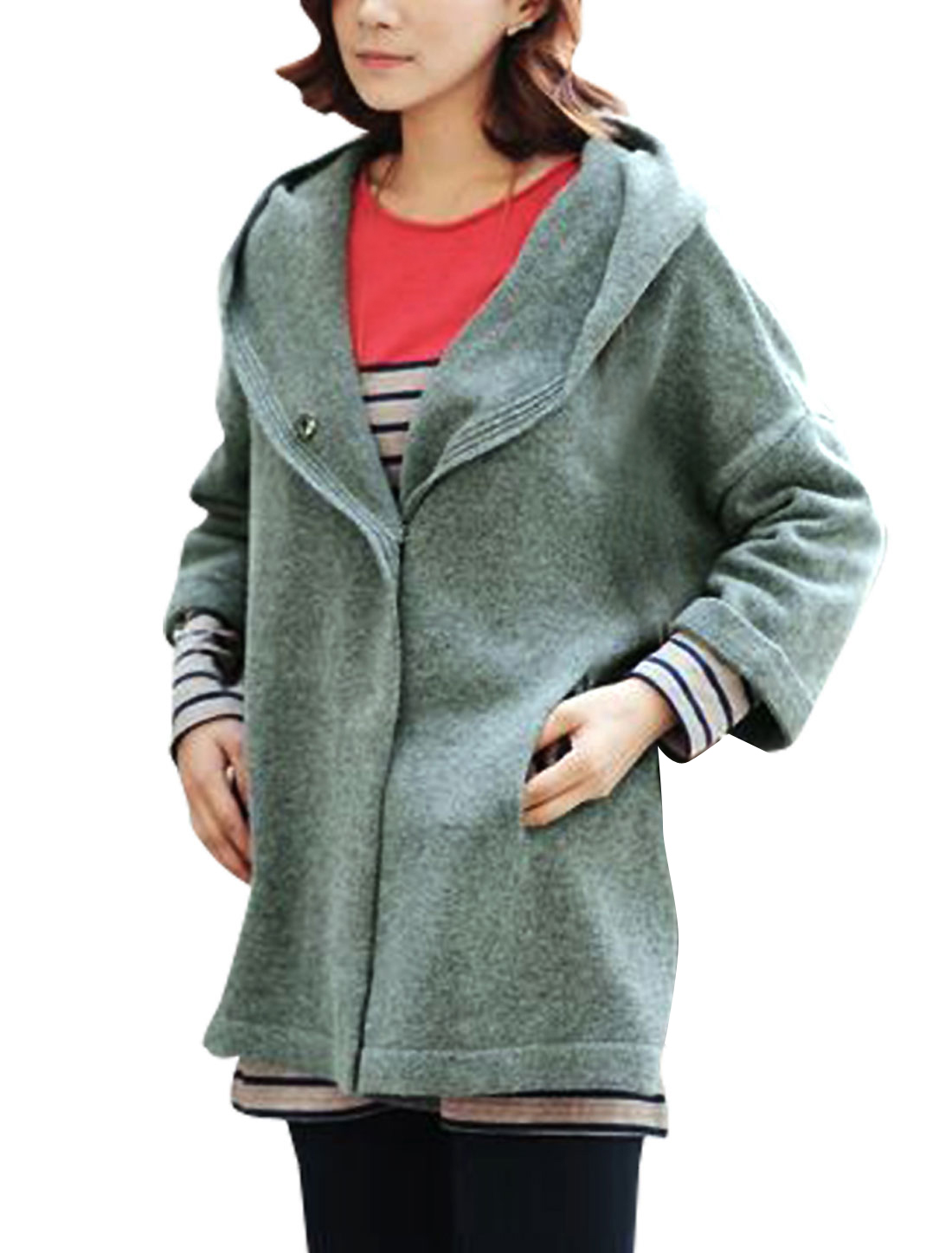 Women Olive Green XL Hoodies Drawstring Solid Color Warm Cardigan Jacket