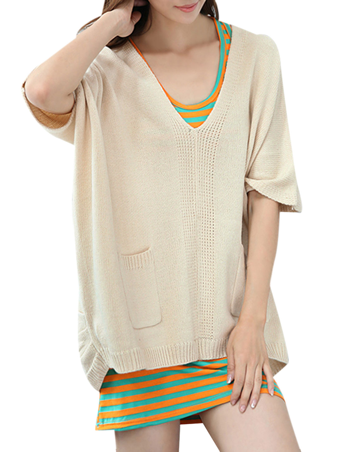 Women Pullover Raglan Sleeve Pockets Below Sweatercoat Beige L