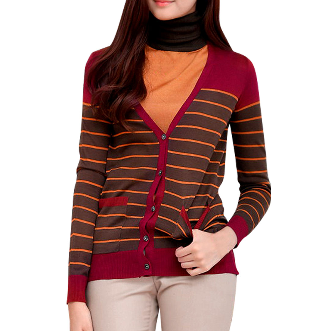 Ladies V Neck Striped Long Sleeve Single Breasted Soft Wine Red Cardigan M