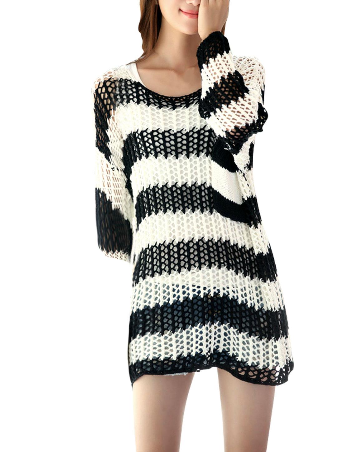 Women Black White M Long Sleeve Design Round Neck Color Block Tunic Shirt