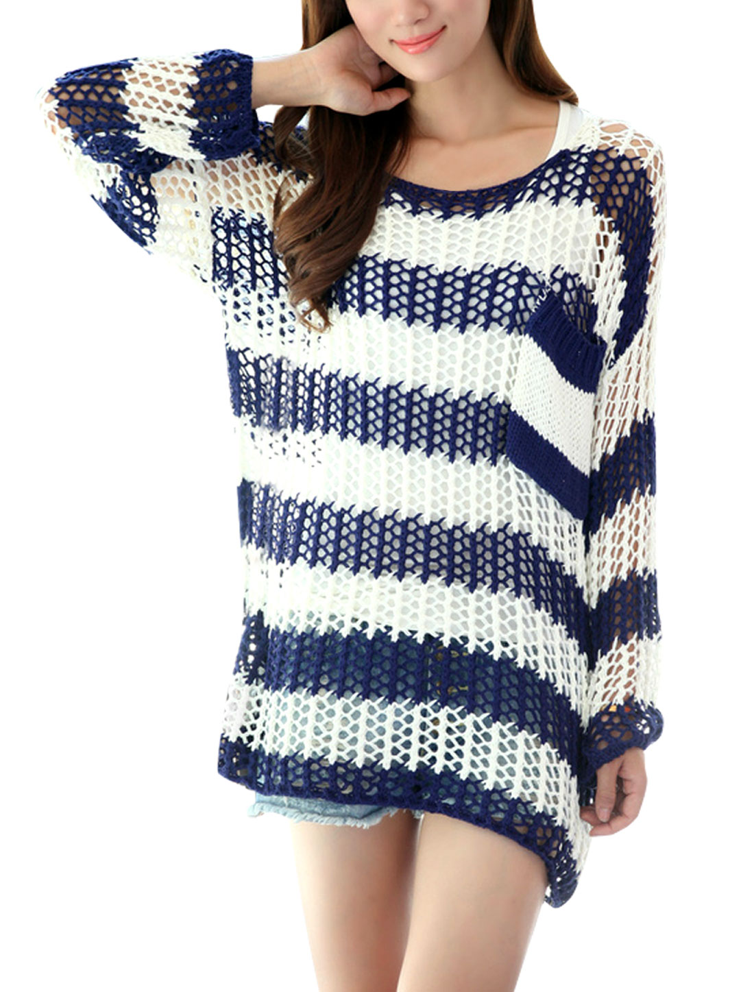Ladies M Blue White Round Neck Color Block Two Tone Hollow Out Tunic Sweater