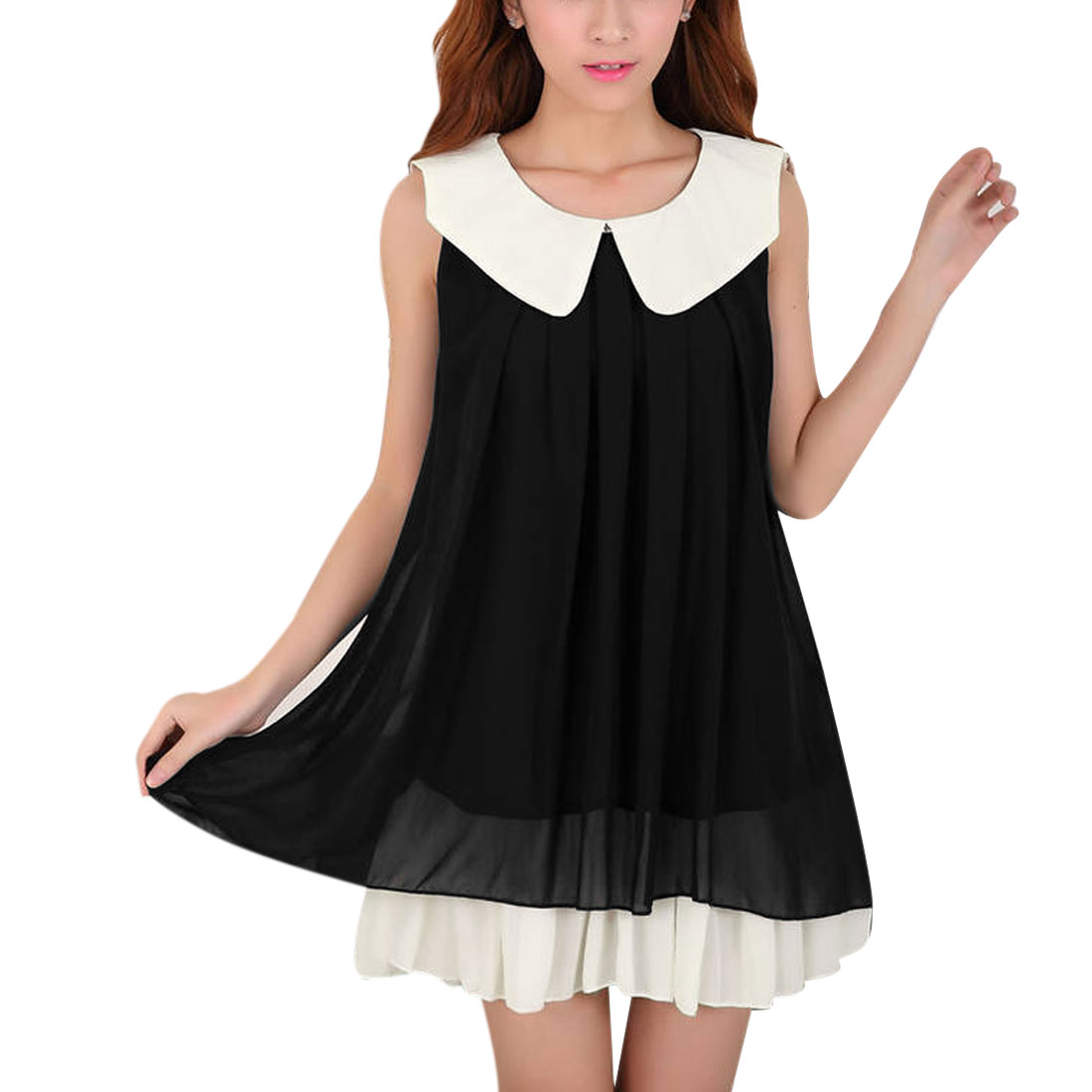 Women Doll Collar Pullover Casual Tunic Dress Black White S