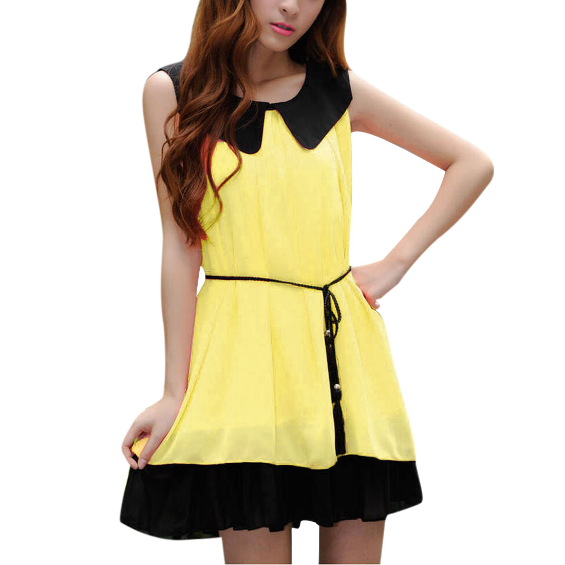 Women Doll Collar Sleeveless Belt Dress Yellow Black S