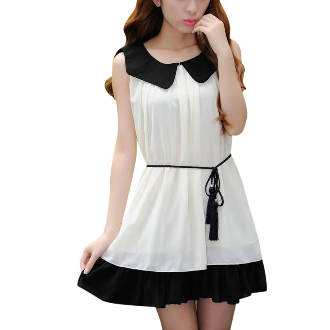 Women Peter Pan Collar Tunic Dress Cream Black S