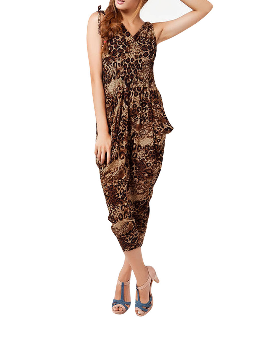 Ladies Brown XS Stretchy Waist Deep V Neck Semi Sheer Fashion Jumpsuit