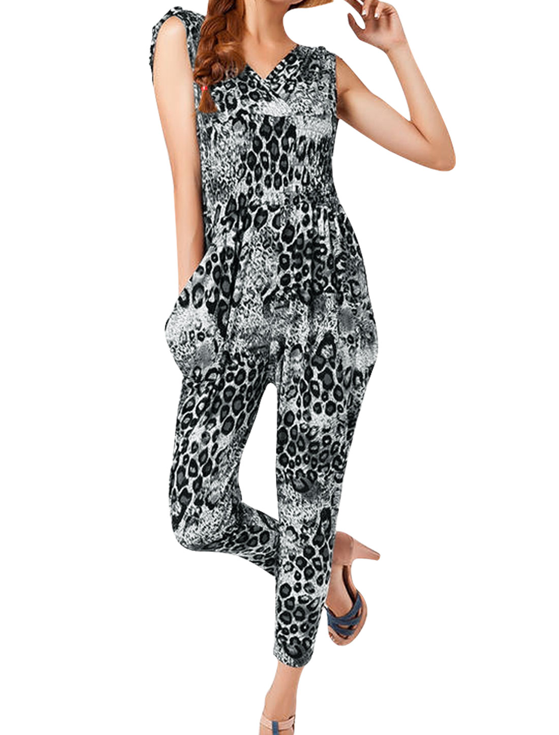 Women Deep V Neck Elastic Waist Sleeveless Design Casual Jumpsuit Grey XS