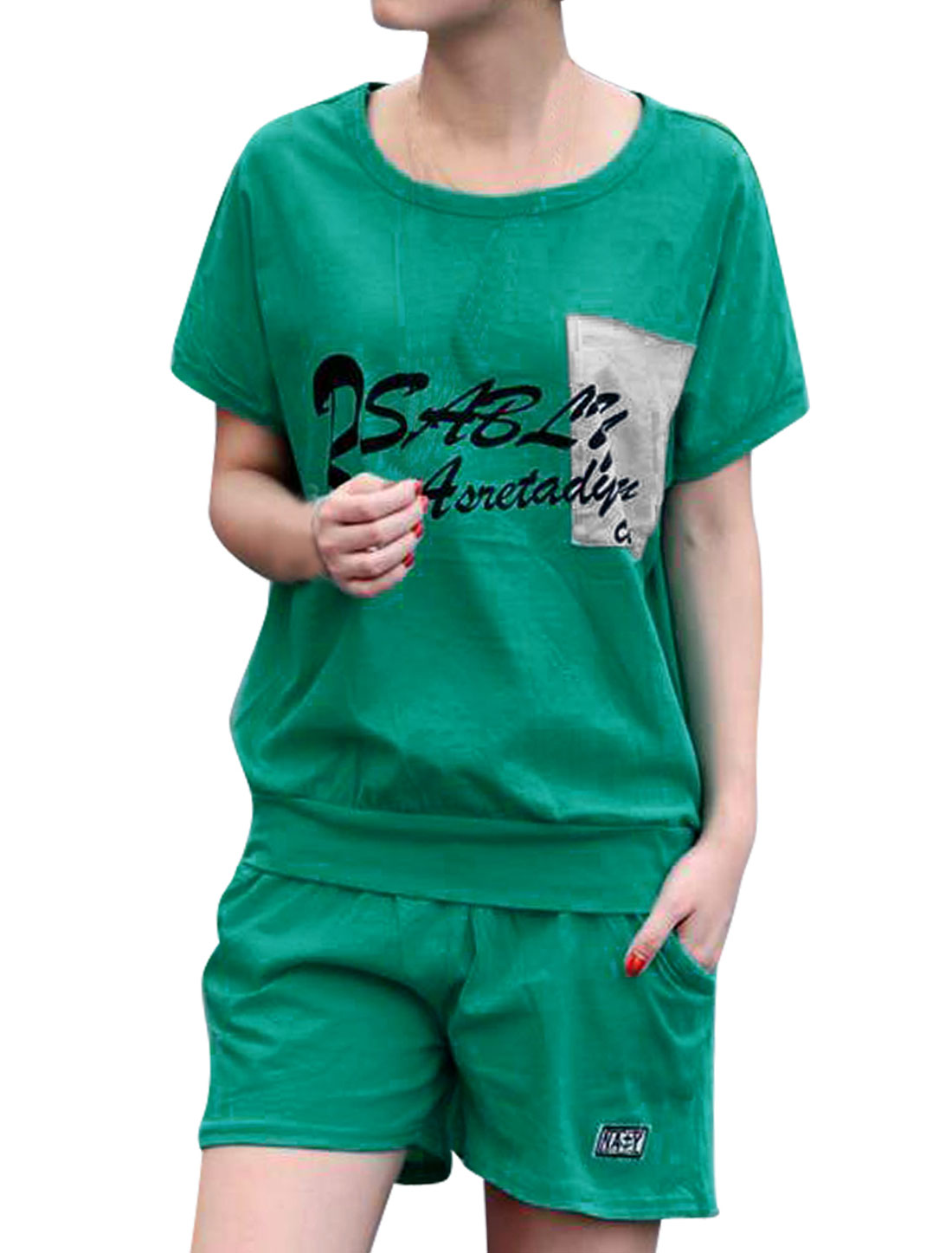 Woman Short Sleeve Letters Pattern Shirt w Elastic Waist Shorts Green S