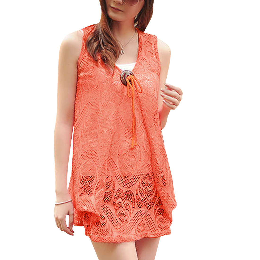 Women Pullover Lace Top Shirt & Stretchy Tank Top Coral XS