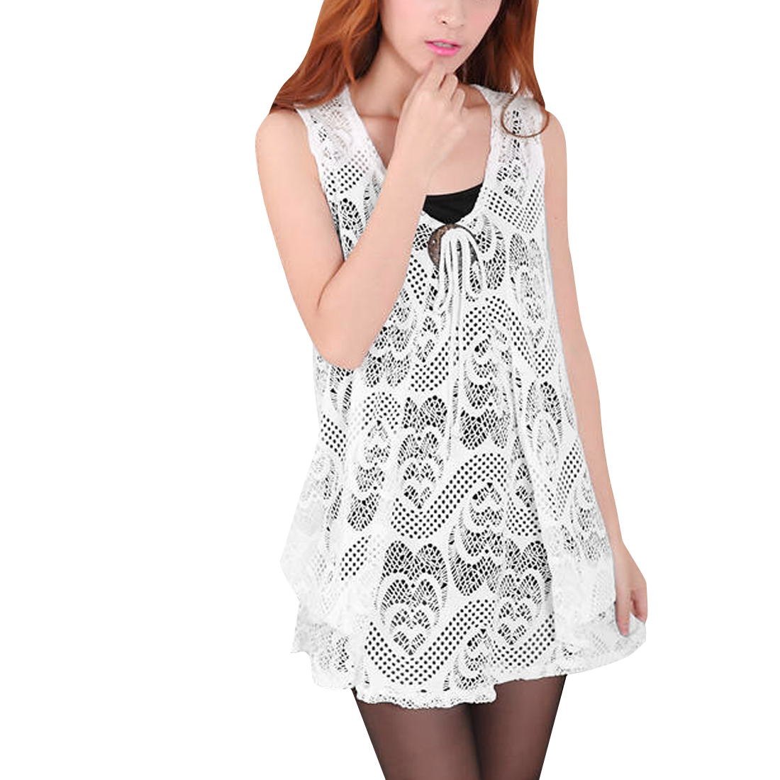 Women Sleeveless Lace Top Shirt & Stretchy Tank Top White XS