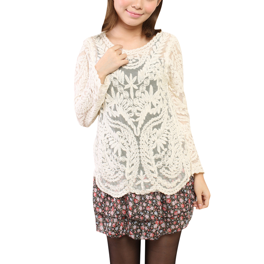 Women Round Neck Long Sleeve Lace Crochet Semi Sheer Top Blouse Beige S