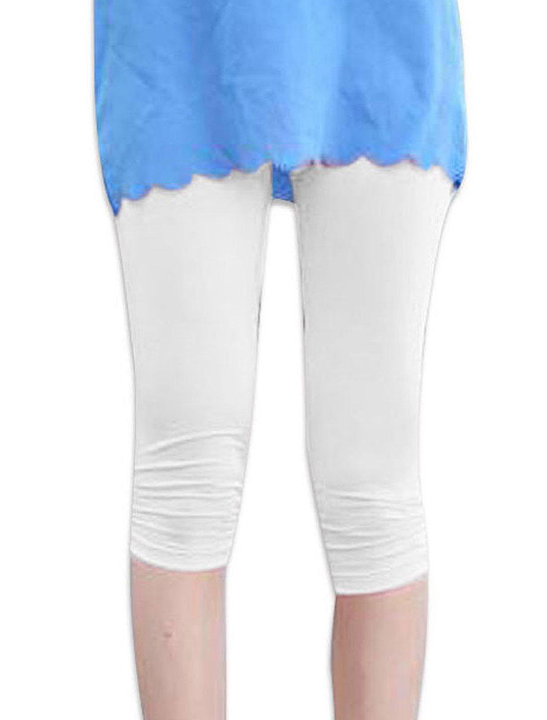 XS White Elastic Waist Slim Fit Design Form-fitting Women Fashion Leggings
