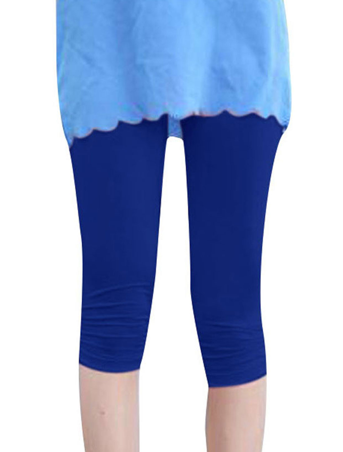 Ladies XS Stretchy Waist Solid Color Skinny Fit Stylish Leggings Blue