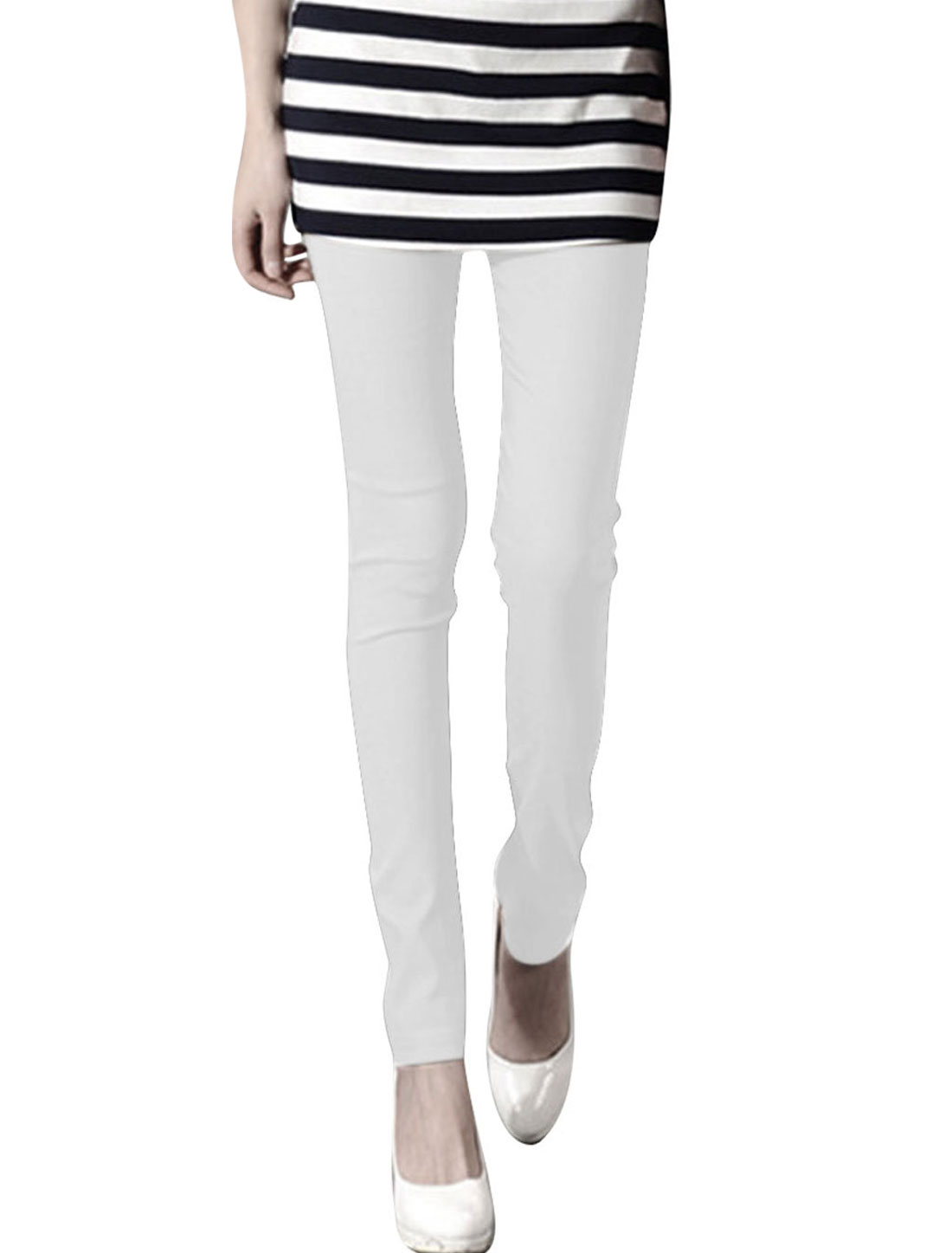 Women XS White Strechy Waist Design Slim Fit Solid Color Stylish Legging