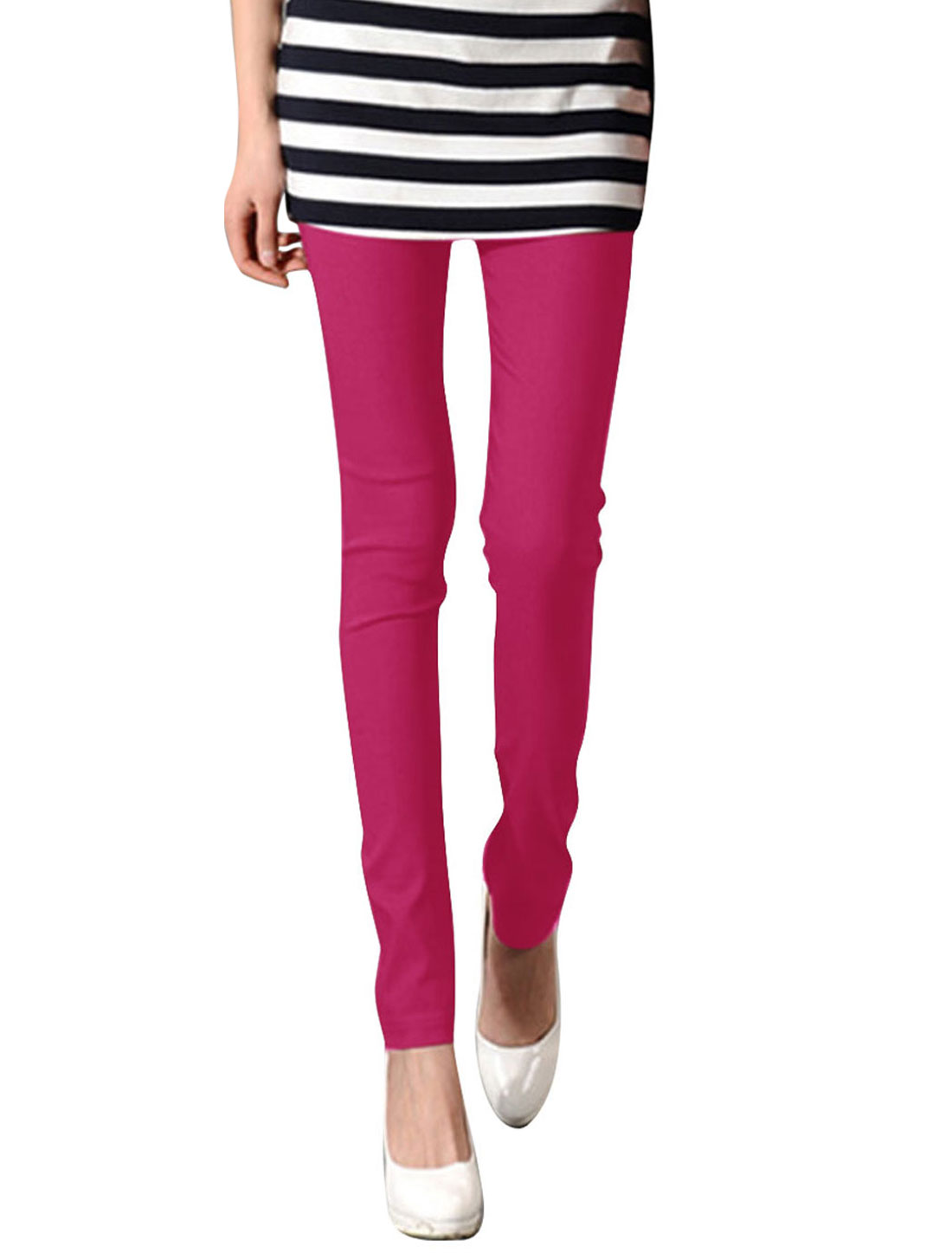 Women Strechy Waist Design Slim Fit Solid Color Stylish Legging XS Fuchsia