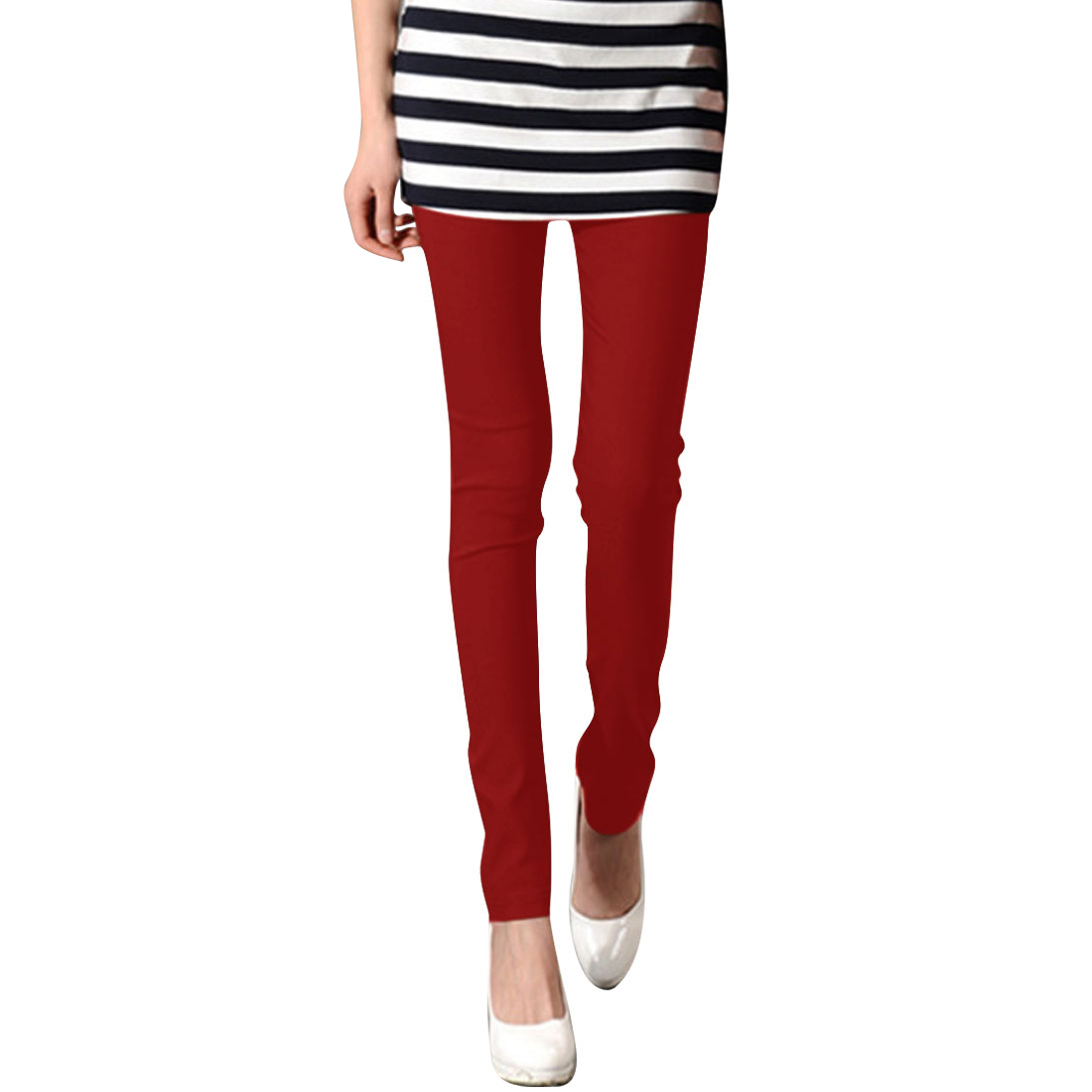 Red XS Form-fitting Style Full Length Slim Fit Casual Legging for Ladies