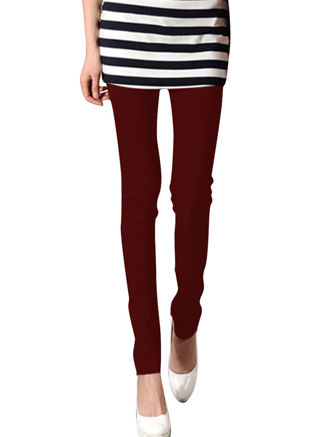 XS Burgundy Slim Fit Design Solid Color Form-fitting Hip Tight Women Legging