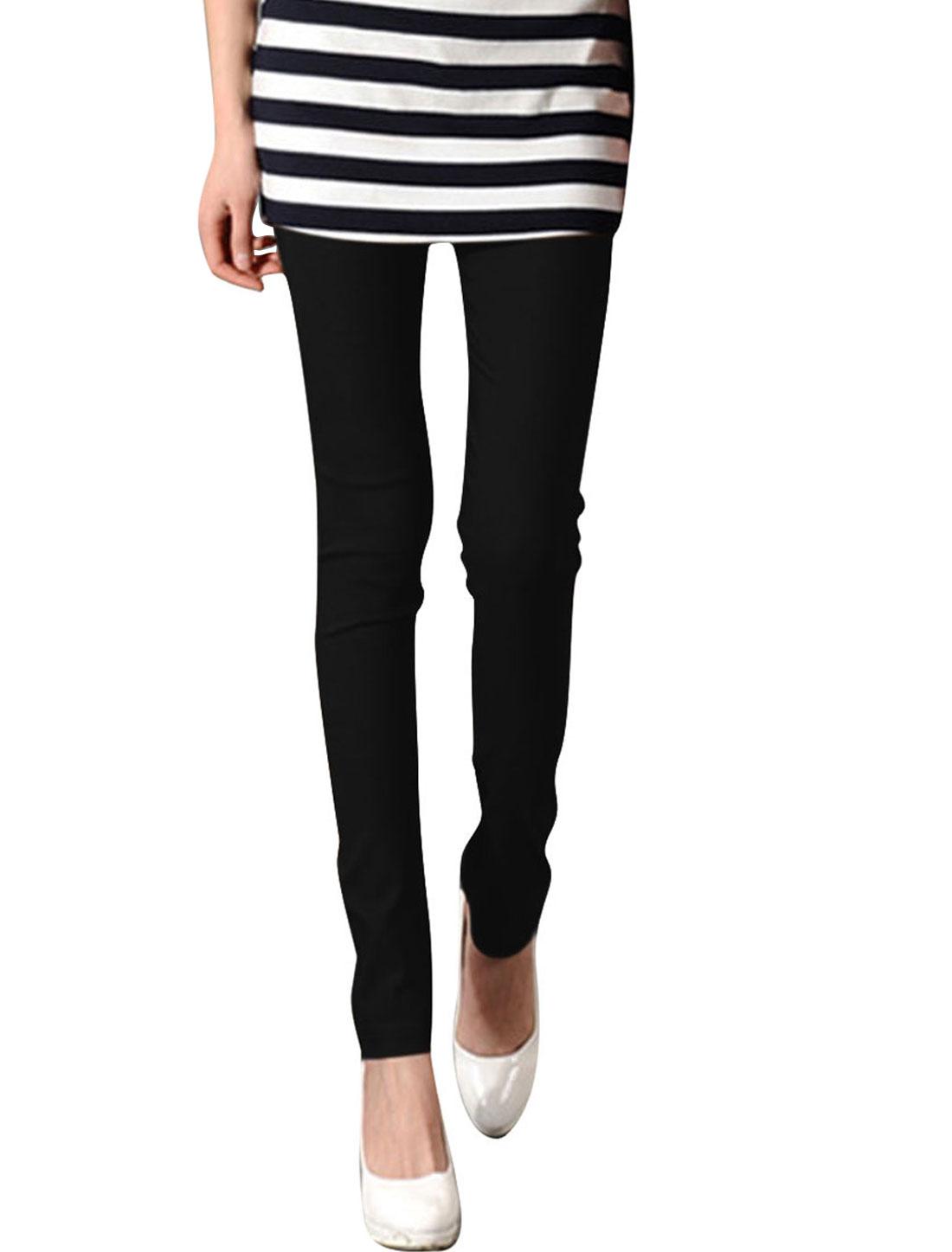 Ladies Stretchy Waist Skinny Fit Style Fashion Summer Legging XS Black